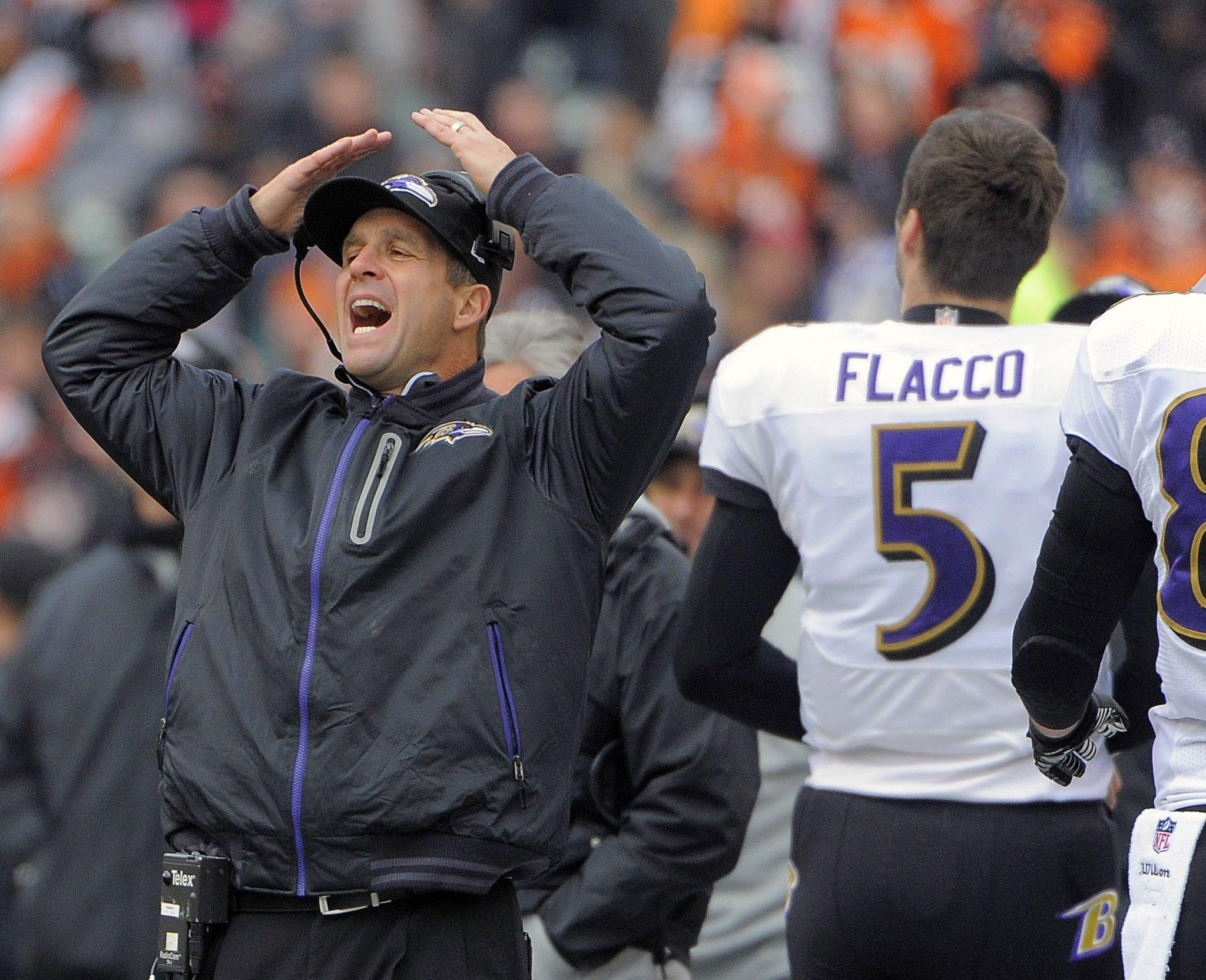 Ravens coach John Harbaugh reacts in the first half against the Cincinnati Bengals.