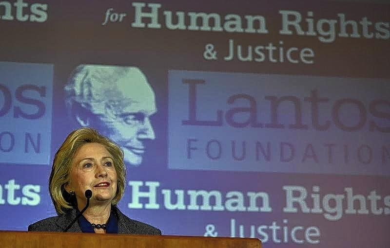 Former U.S. Secretary of State Hillary Clinton makes remarks after receiving the 2013 Tom Lantos Human Rights Prize from the Lantos Foundation for Human Rights and Justice.