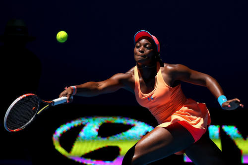 Sloane Stephens of the U.S. plays a forehand to Anabel Medina Garrigues of Spain in the women's singles match during day three of the Hopman Cup at Perth Arena on Dec. 30 in Perth, Australia.