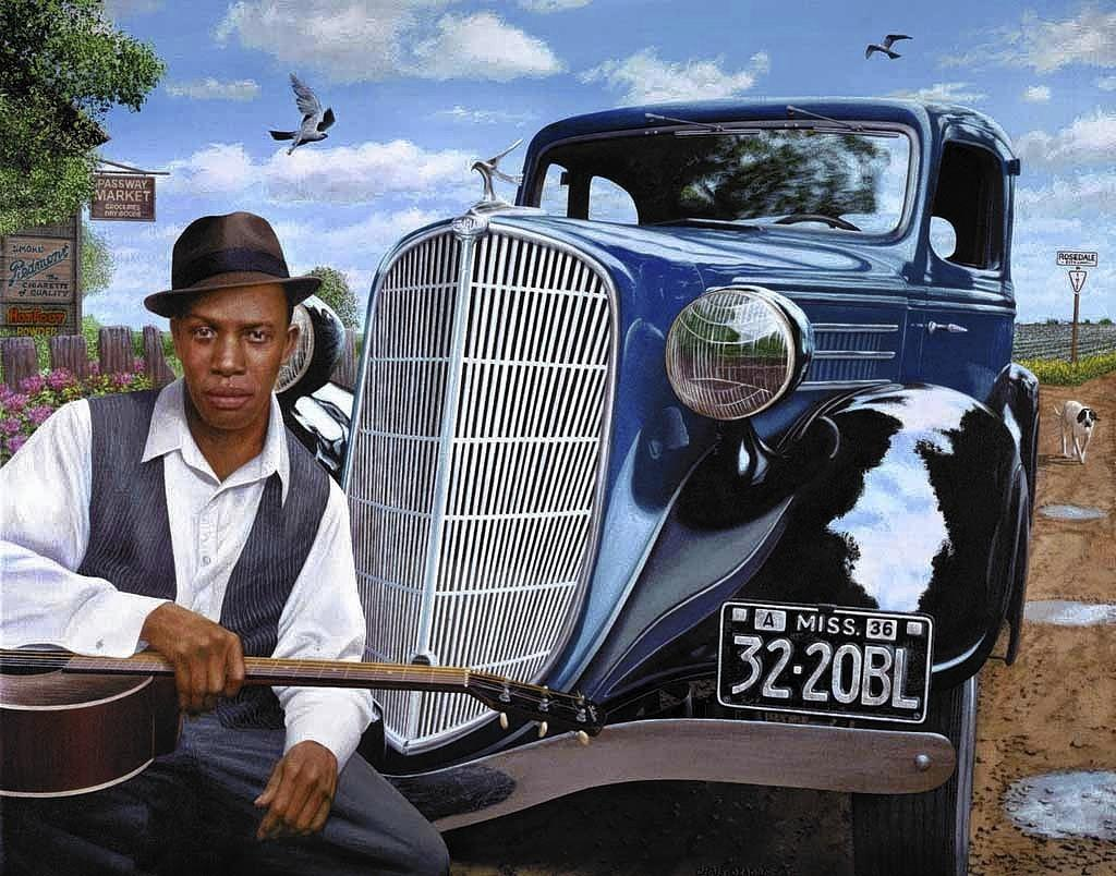 A painting of Robert Johnson with a Terraplane.