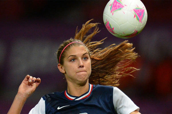 U.S. forward Alex Morgan controls the ball during the London 2012 Olympic Games.