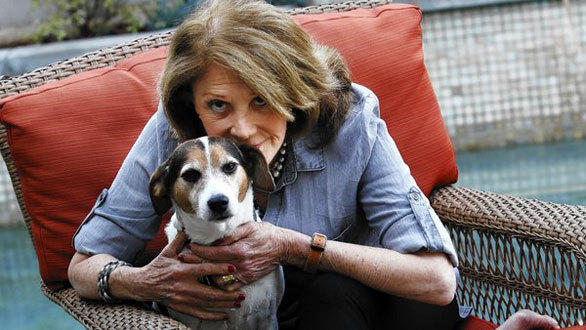 Linda Lavin with her dog Mickey at her West Hollywood home.