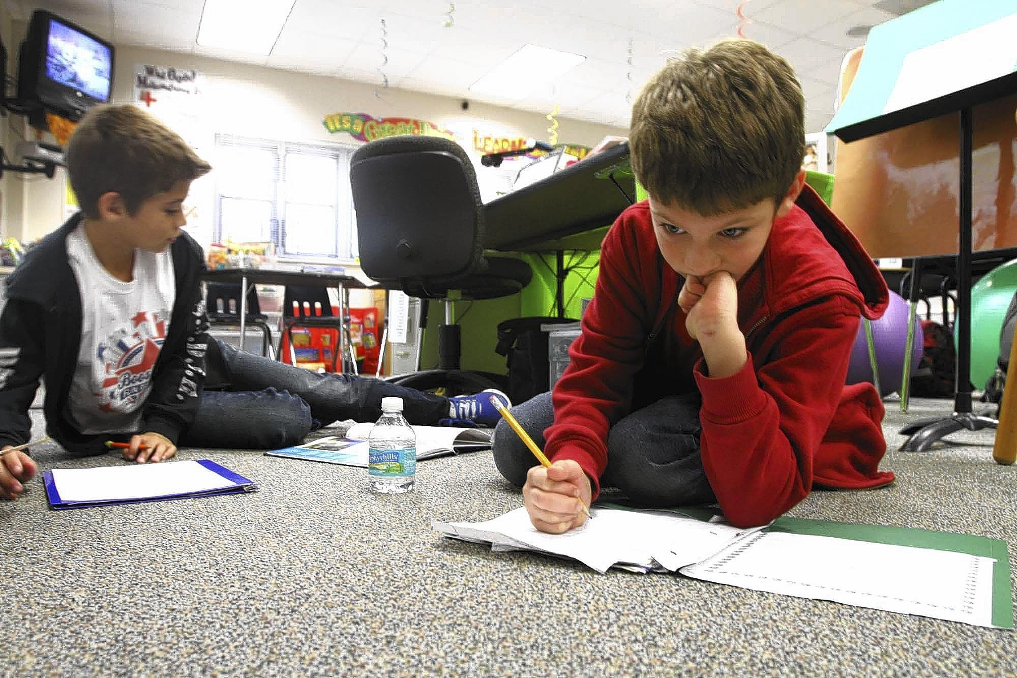 Jake Joice, 10, left, and Luka Siddique 8, are studying Jacques Cousteau. Orange County's very small program for super-gifted third- to fifth-graders is a class at Blankner School taught by Melissa Graham.