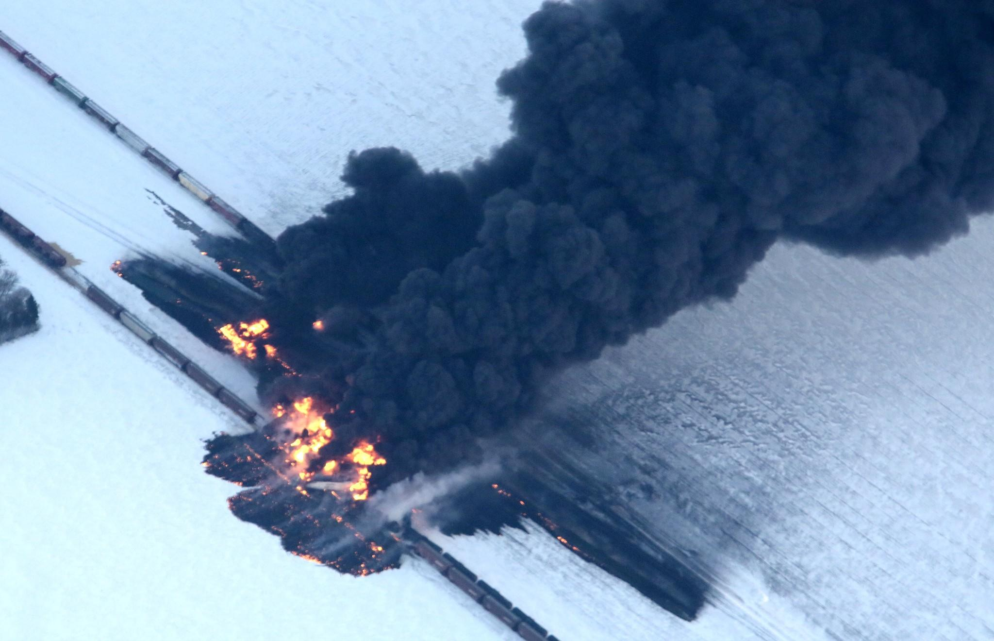 A fire from a train derailment burns uncontrollably west of Casselton, N.D. No injuries were reported.