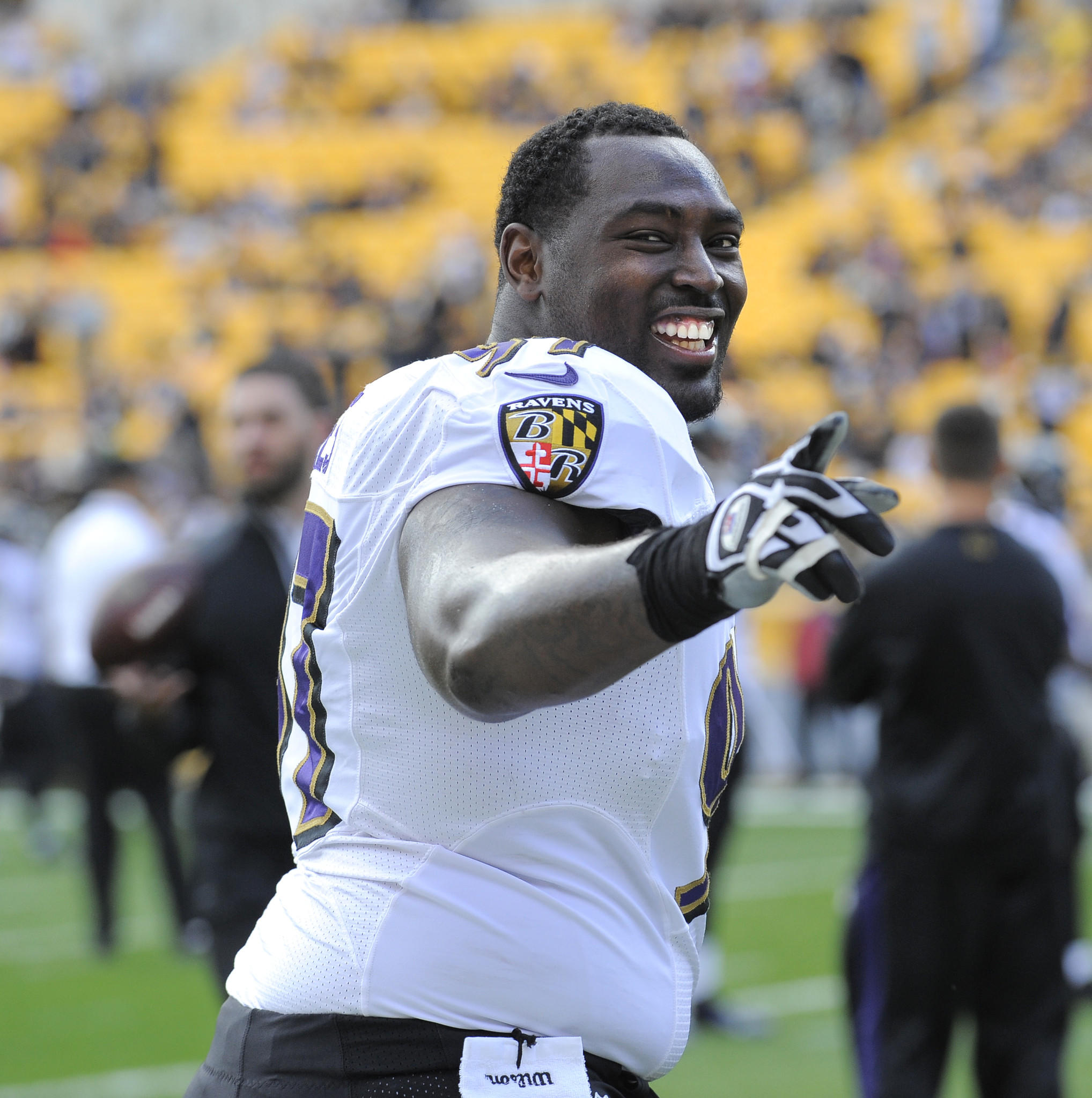 Ravens' Arthur Jones smiles before the Ravens play the Pittsburgh Steelers in October.