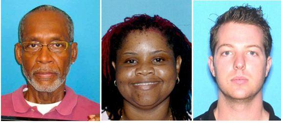 Shown from left: Suspects Alfonzie Rogers, Nicola Spence-Burrell and Aaron Jacobs have been arrested in connection with the thefts.