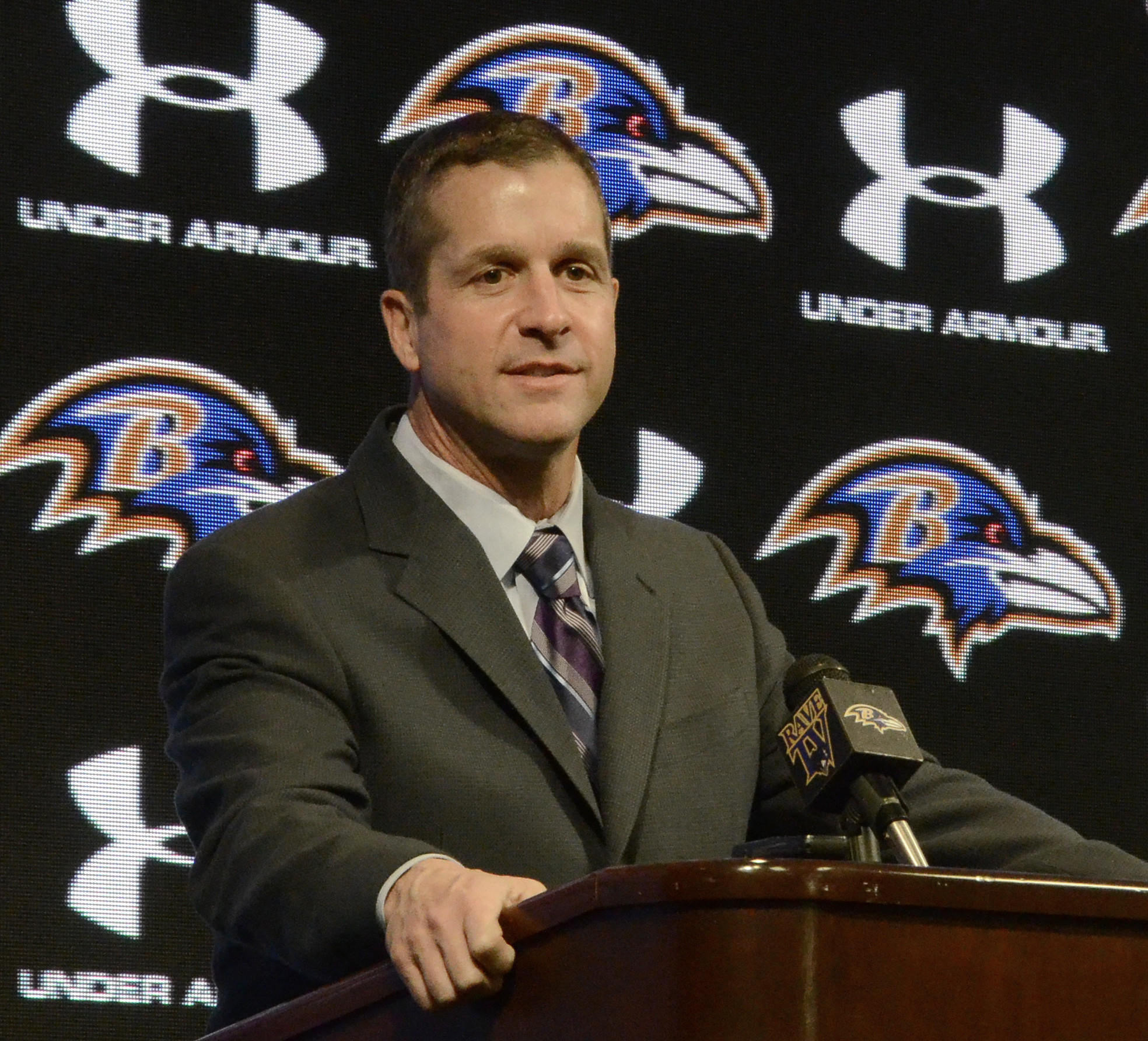Ravens coach John Harbaugh addresses the media during his season-ending news conference on Tuesday.