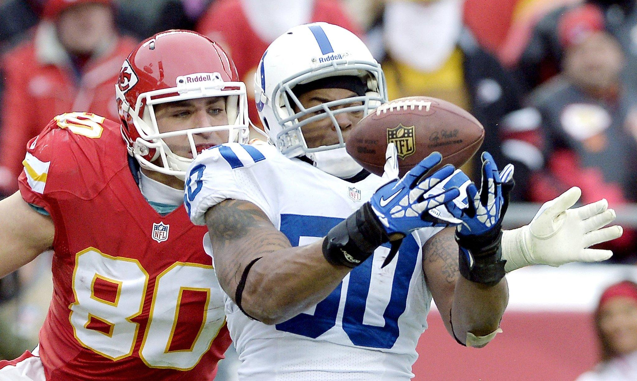 Colts linebacker Jerrell Freeman intercepts a pass in the end zone intended for Chiefs tight end Anthony Fasano (80) in the fourth quarter of their game earlier this month at Arrowhead Stadium in Kansas City