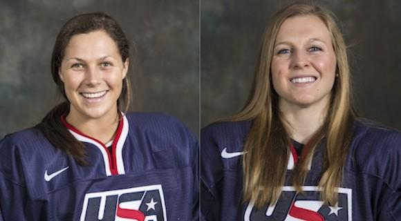 Megan Bozek (l) and Kendall Coyne are on the 2014 Olympic hockey team.