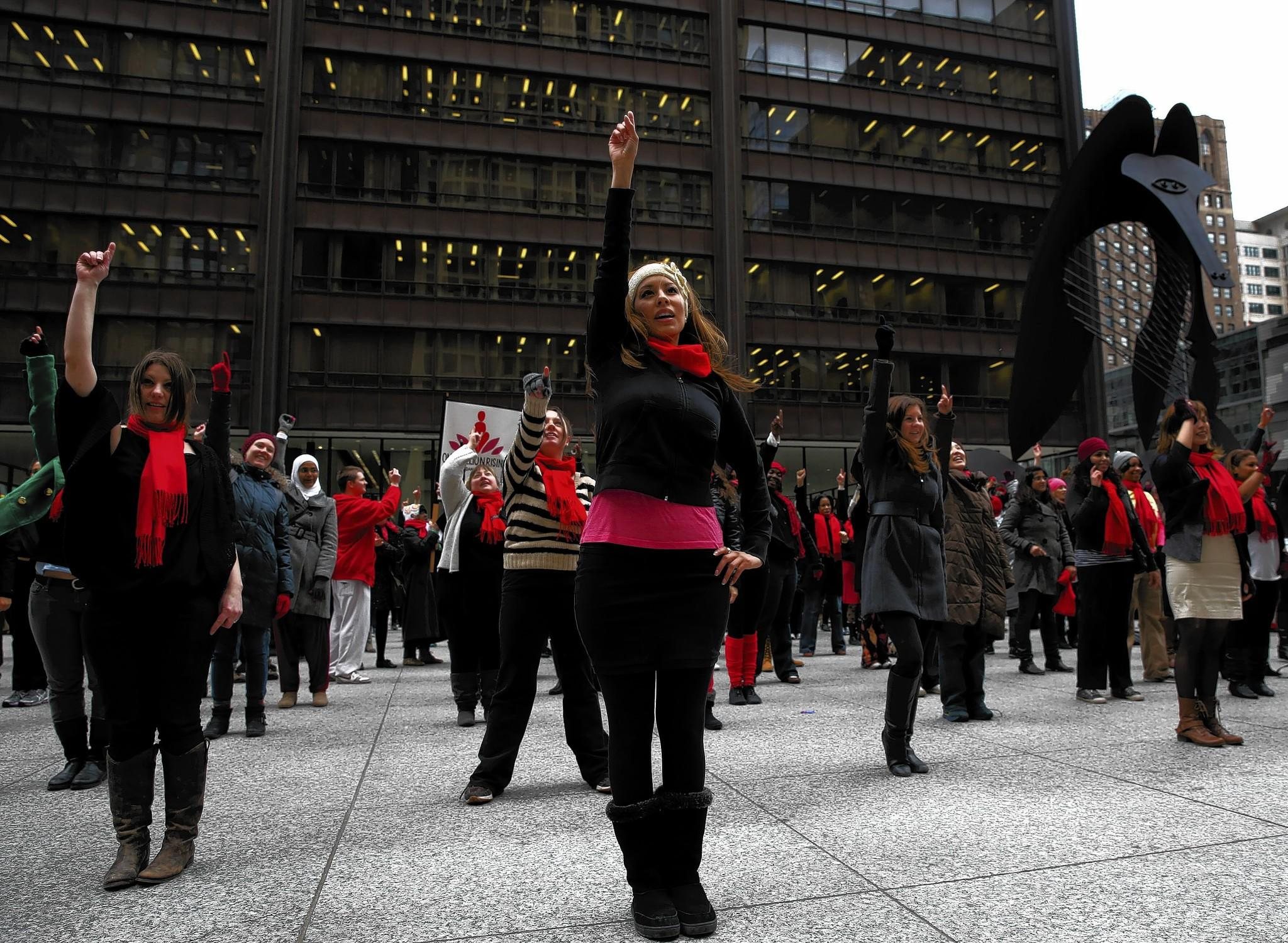 One Billion Rising partnered with Rape Victim Advocates for a dancing flash mob in Daley Plaza in February.