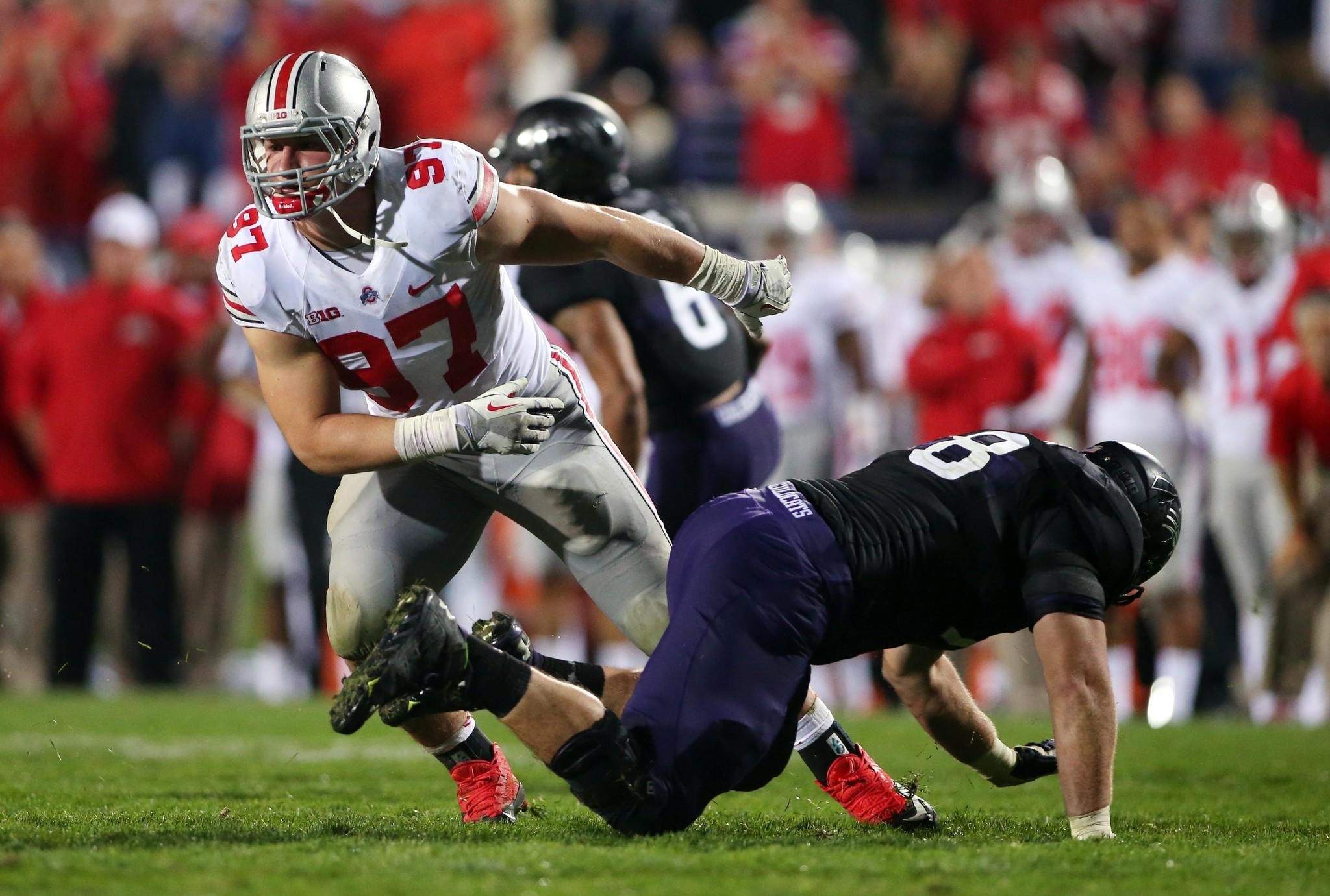 Ohio State defensive lineman Joey Bosa (97) gets past Northwestern's Paul Jorgensen during the fourth quarter at Ryan Field.