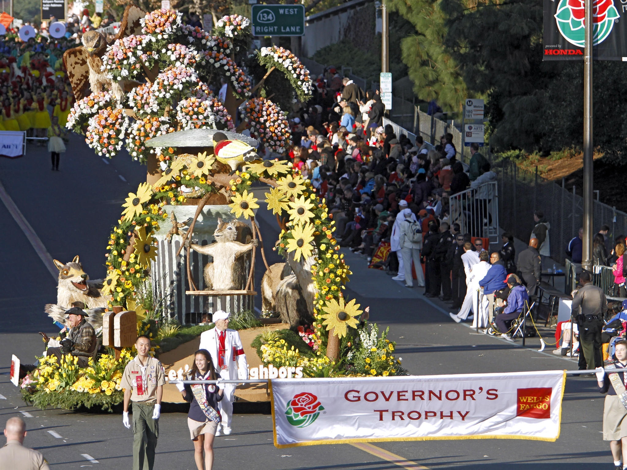 "The Glendale float ""Let's be neighbors"" featuring Meatball the bear, won the Governor's Award for best depiction of life in California at the Rose Parade in Pasadena on Wednesday, January 1, 2014."