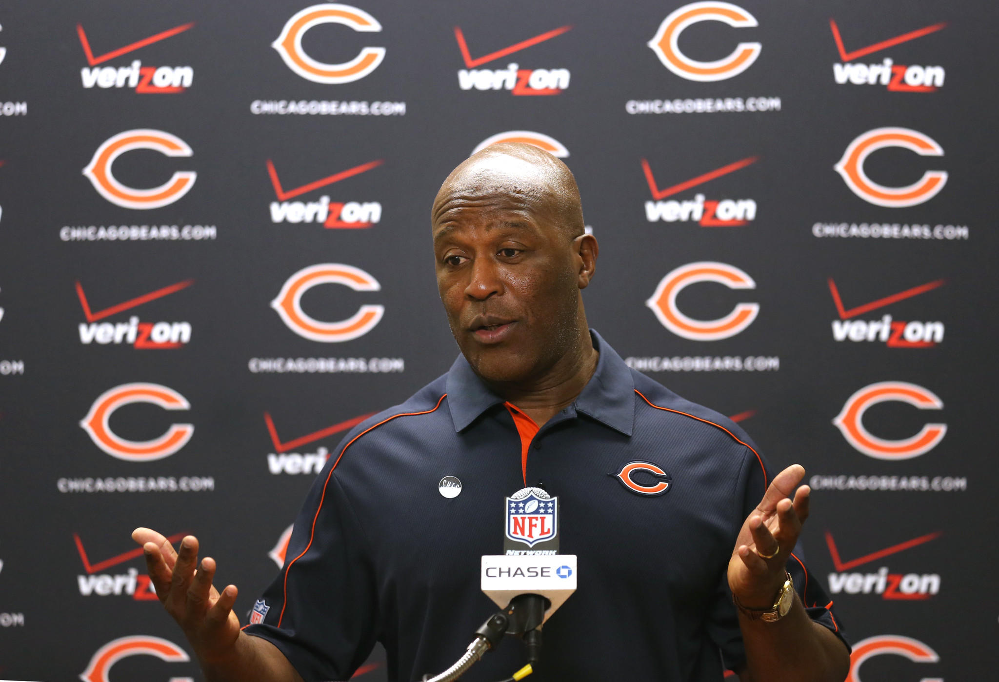 Former Bears coach Lovie Smith during a press conference.
