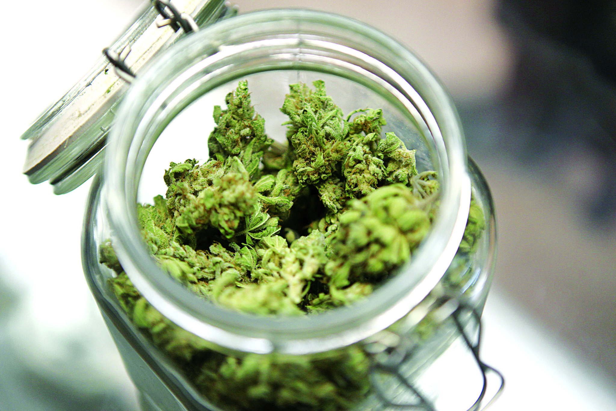 Medical marijuana is shown in a jar at The Joint Cooperative in Seattle.