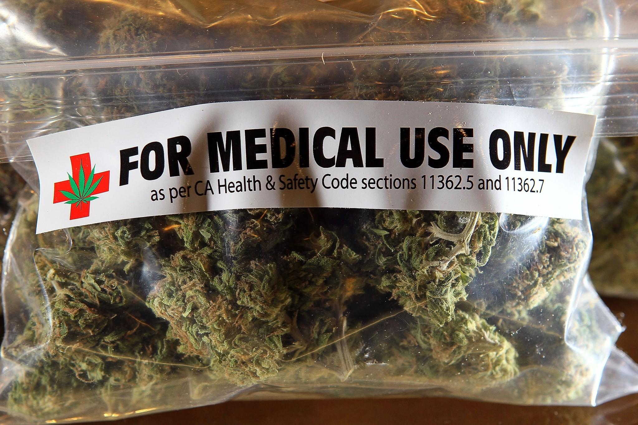 A one-ounce bag of medicinal marijuana.