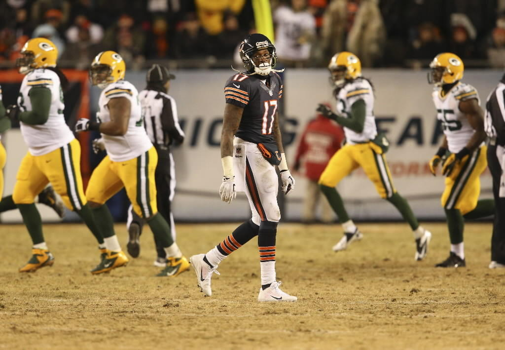 Alshon Jeffery walks off the field after his fumble against Green Bay on Sunday.