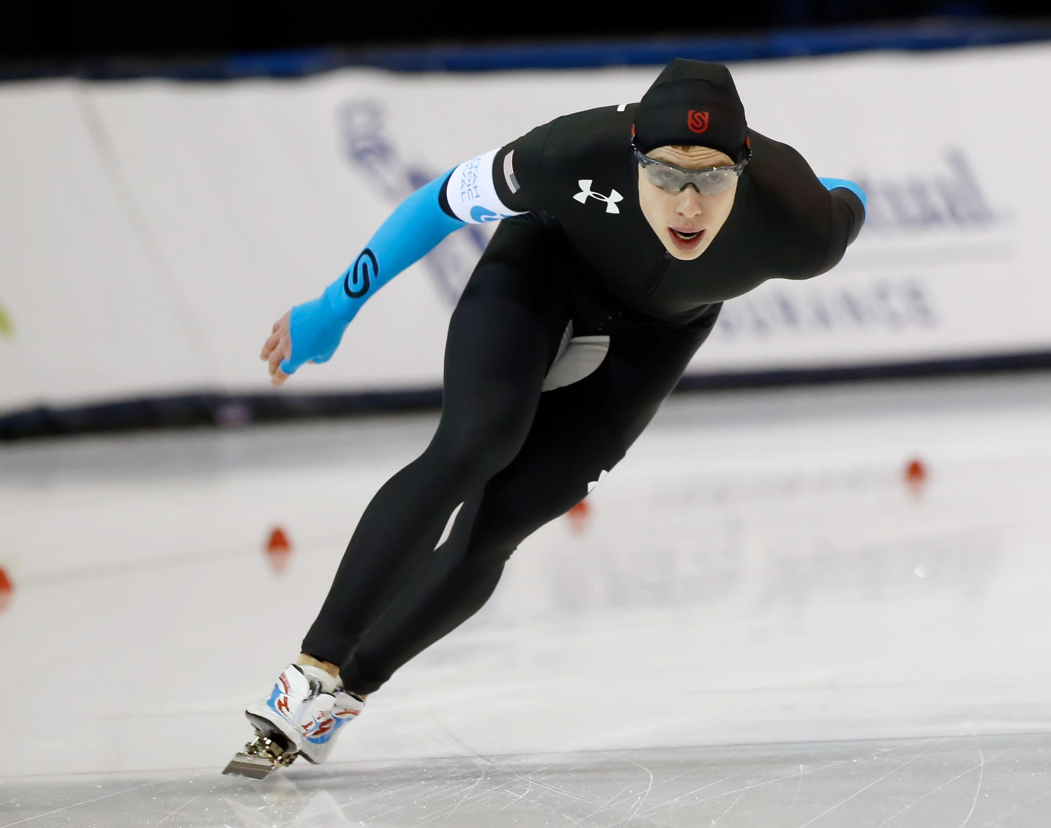 Brian Hansen competes in the 1000m during the U.S. Olympic speedskating trials at Utah Olympic Oval.