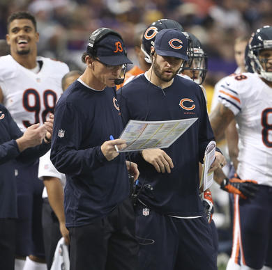 Marc Trestman and Jay Cutler during the first quarter of the