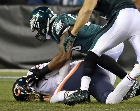 Philadelphia Eagles outside linebacker Trent Cole sacks Jay Cutler in the first quarter at Lincoln Financial Field.