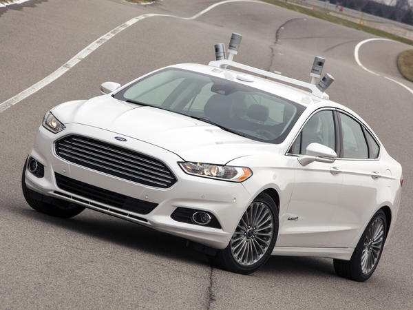 Ford will use this modified Fusion Hybrid to test emerging autonomous-driving technologies, in conjunction with the University of Michigan and State Farm Insurance.