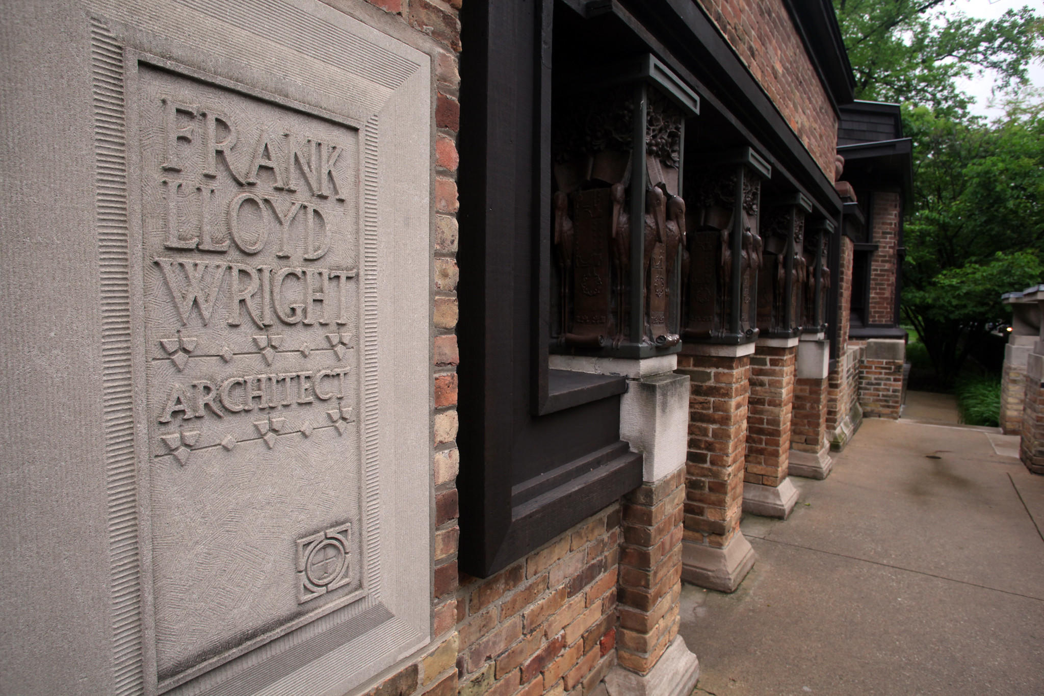 This is the exterior of the Frank Lloyd Wright studio in Oak Park.
