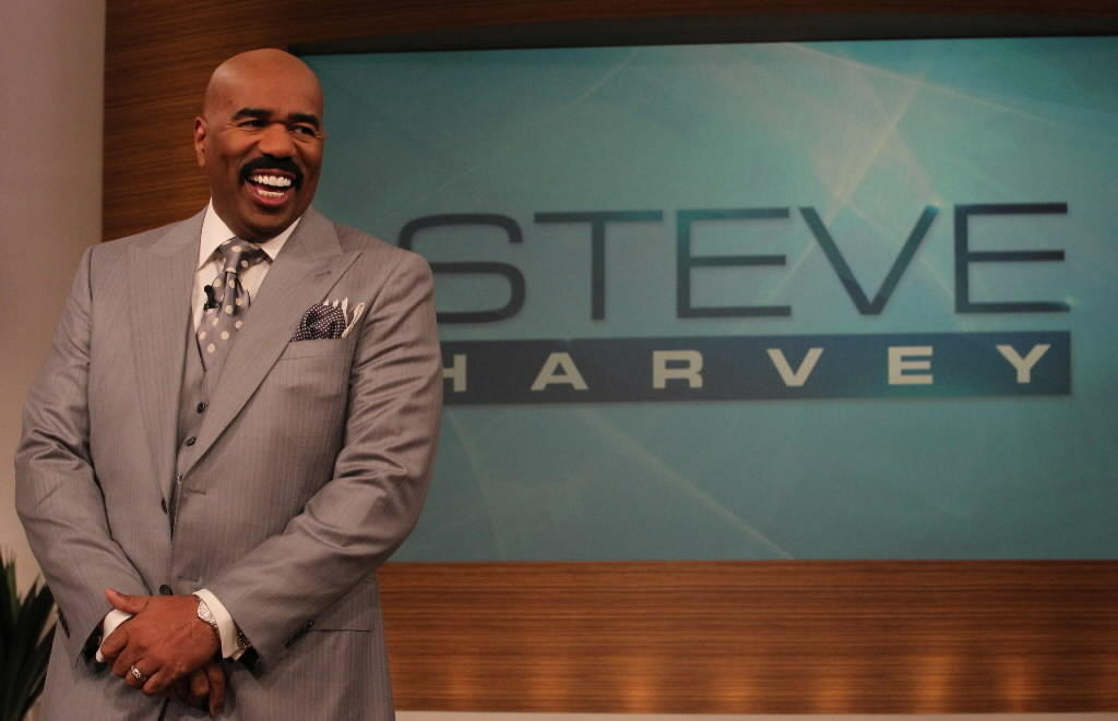 "Steve Harvey during a taping of his ""Steve Harvey"" talk show April 23, 2013 at the NBC studio in Chicago."