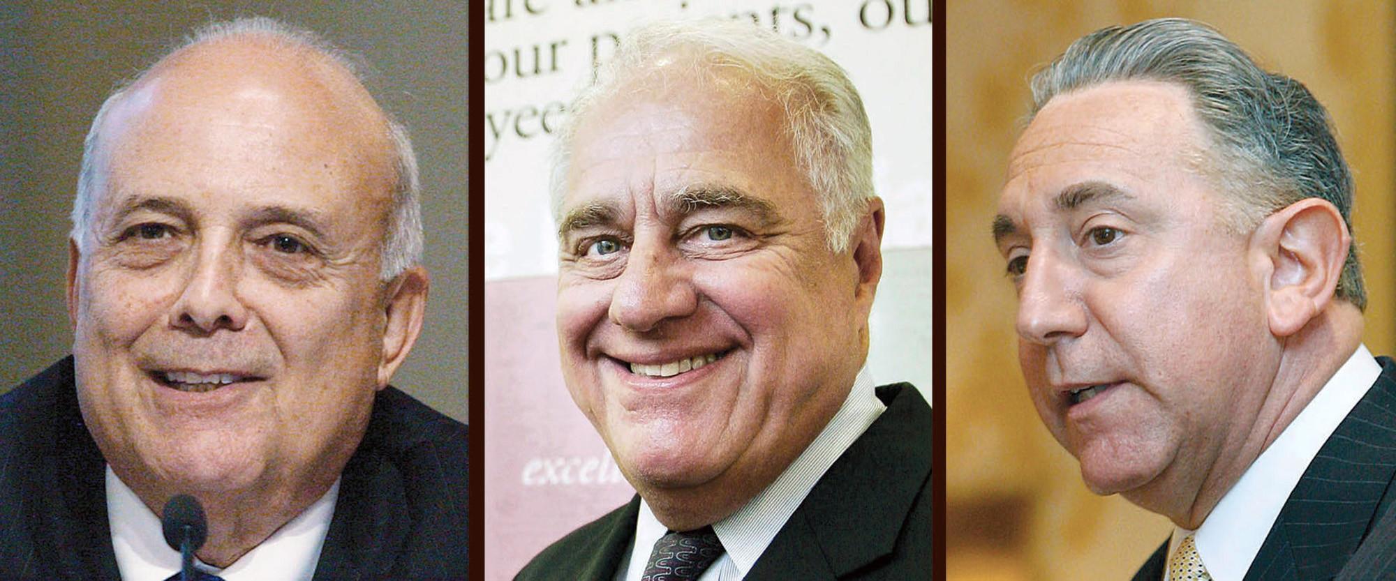 From left, former mayors Frank Quintero, Sheldon Baker and John Drayman.