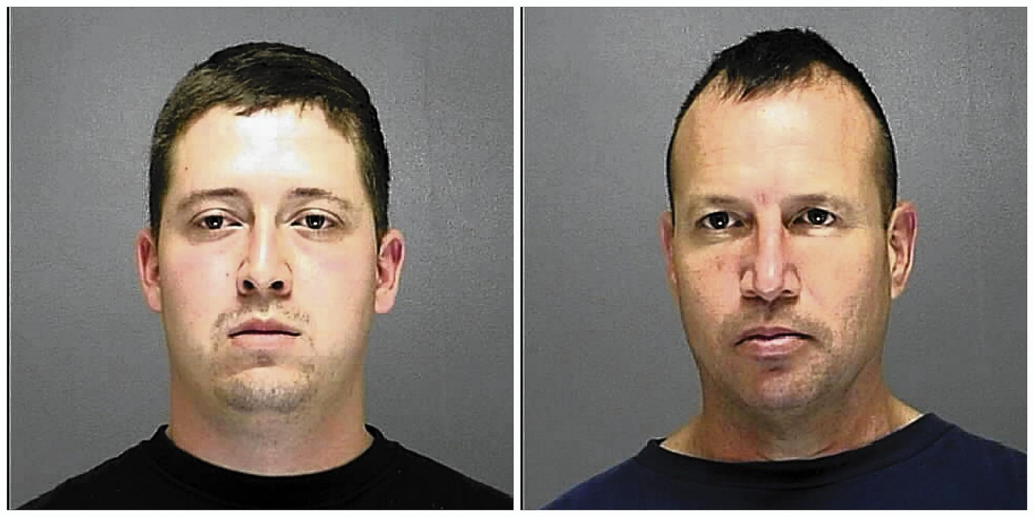 Christopher Suffield Jr., 28, (left) and Christopher Suffiled Sr., 47, were arrested Jan. 1, 2014 after a Volusia deputy saw them stealing a $10,000 generator, the Sheriff's Office said.