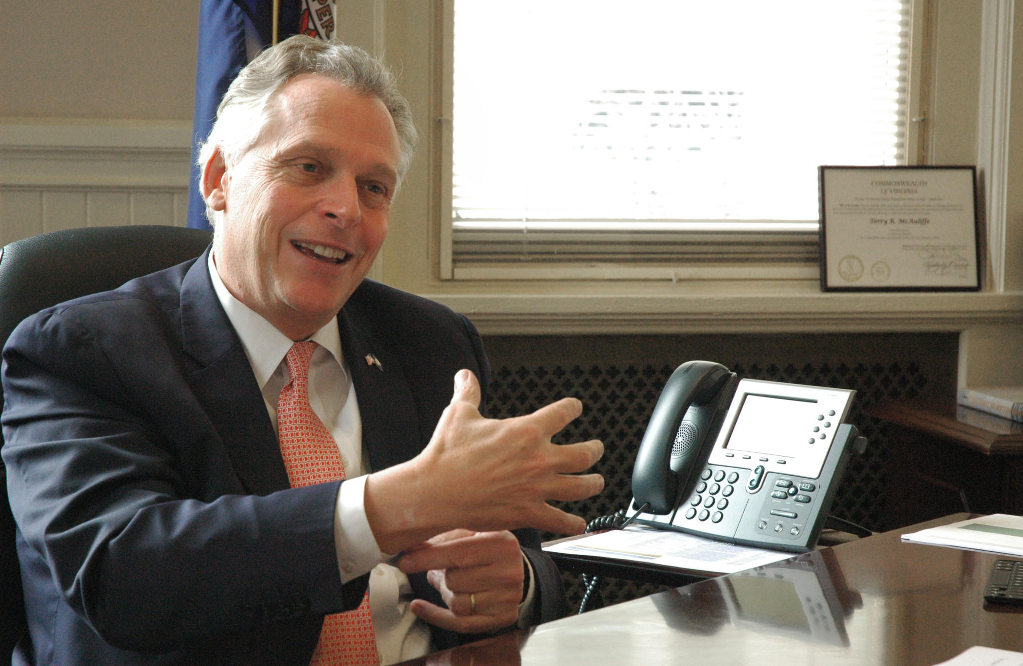 Governor-elect Terry McAuliffe being interviewed in his transistion office across from the Capitol in Richmond, January 2, 2014.
