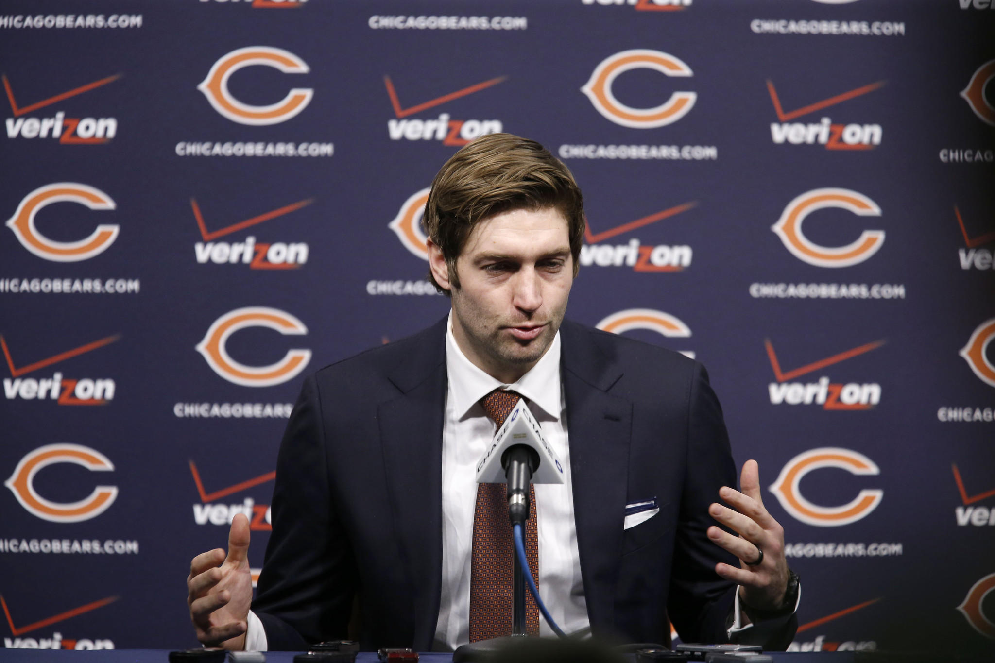 Chicago Bears quarterback Jay Cutler speaks to the media at a press conference regarding his contract extension seen here at Halas Hall in Lake Forest on Thursday, Jan. 2, 2014.. (Jose M. Osorio/ Chicago Tribune) B583434860Z.1 ....OUTSIDE TRIBUNE CO.- NO MAGS, NO SALES, NO INTERNET, NO TV, NEW YORK TIMES OUT, CHICAGO OUT, NO DIGITAL MANIPULATION...