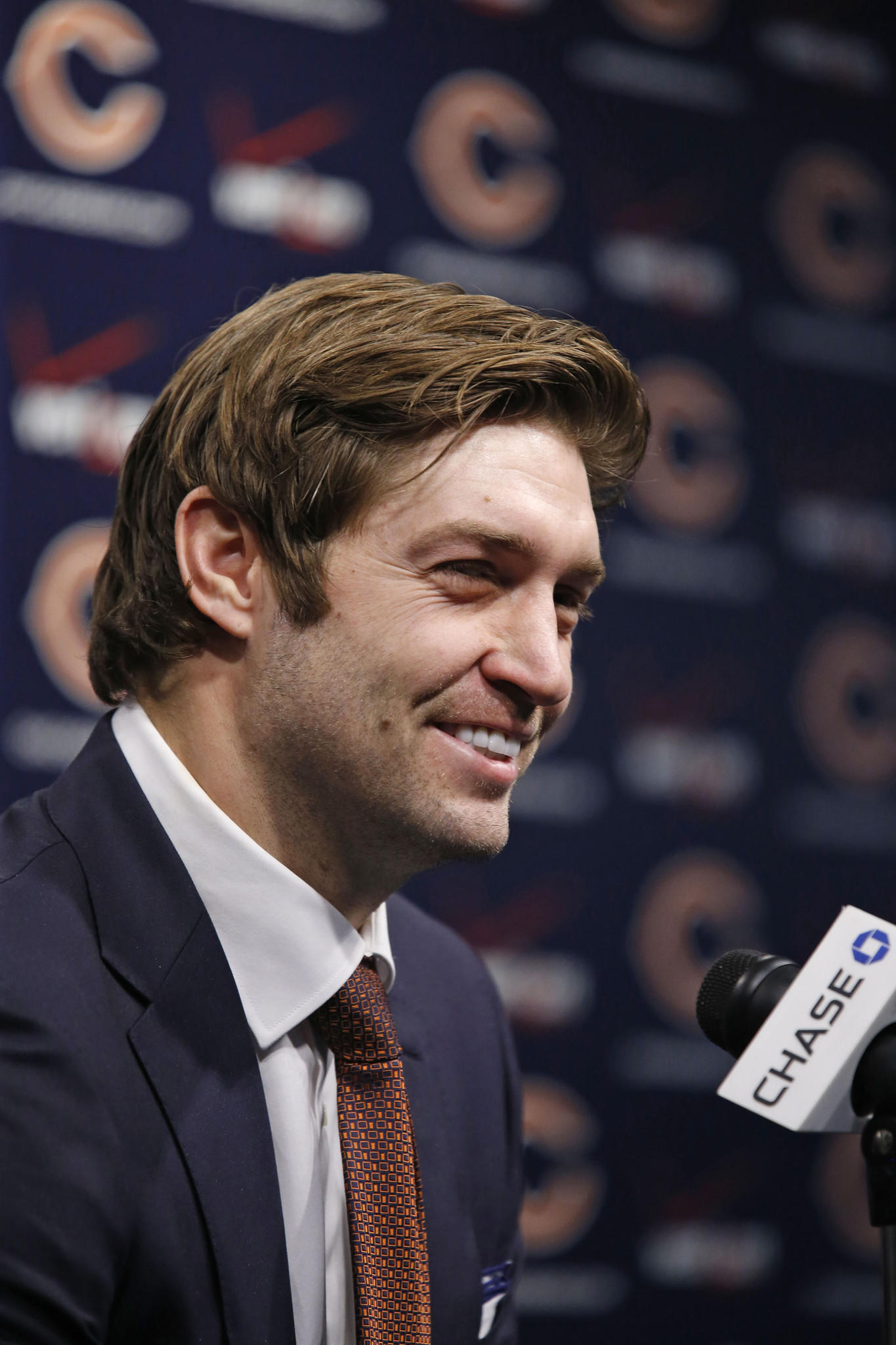 Chicago Bears quarterback Jay Cutler speaks to the media at a press conference regarding his contract extension seen here at Halas Hall in Lake Forest on Thursday, Jan. 2, 2014.