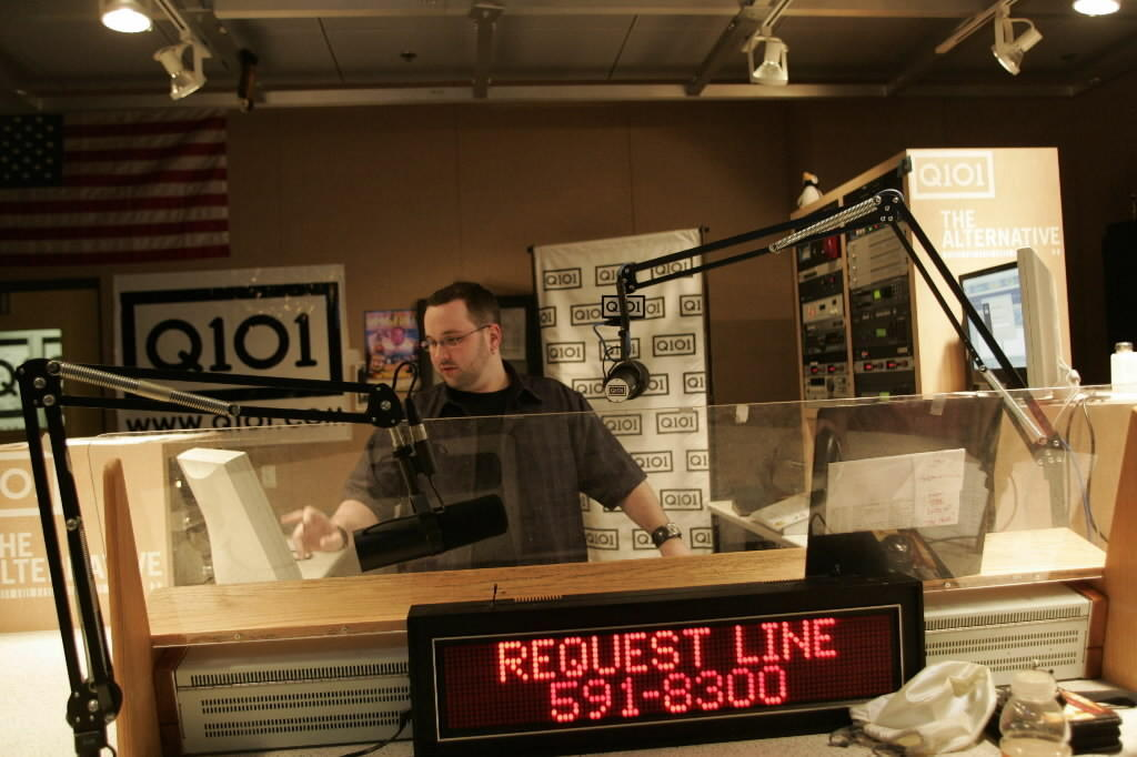 Woody on the air at Q101 as part of the 2-6 p.m. crew in 2005.