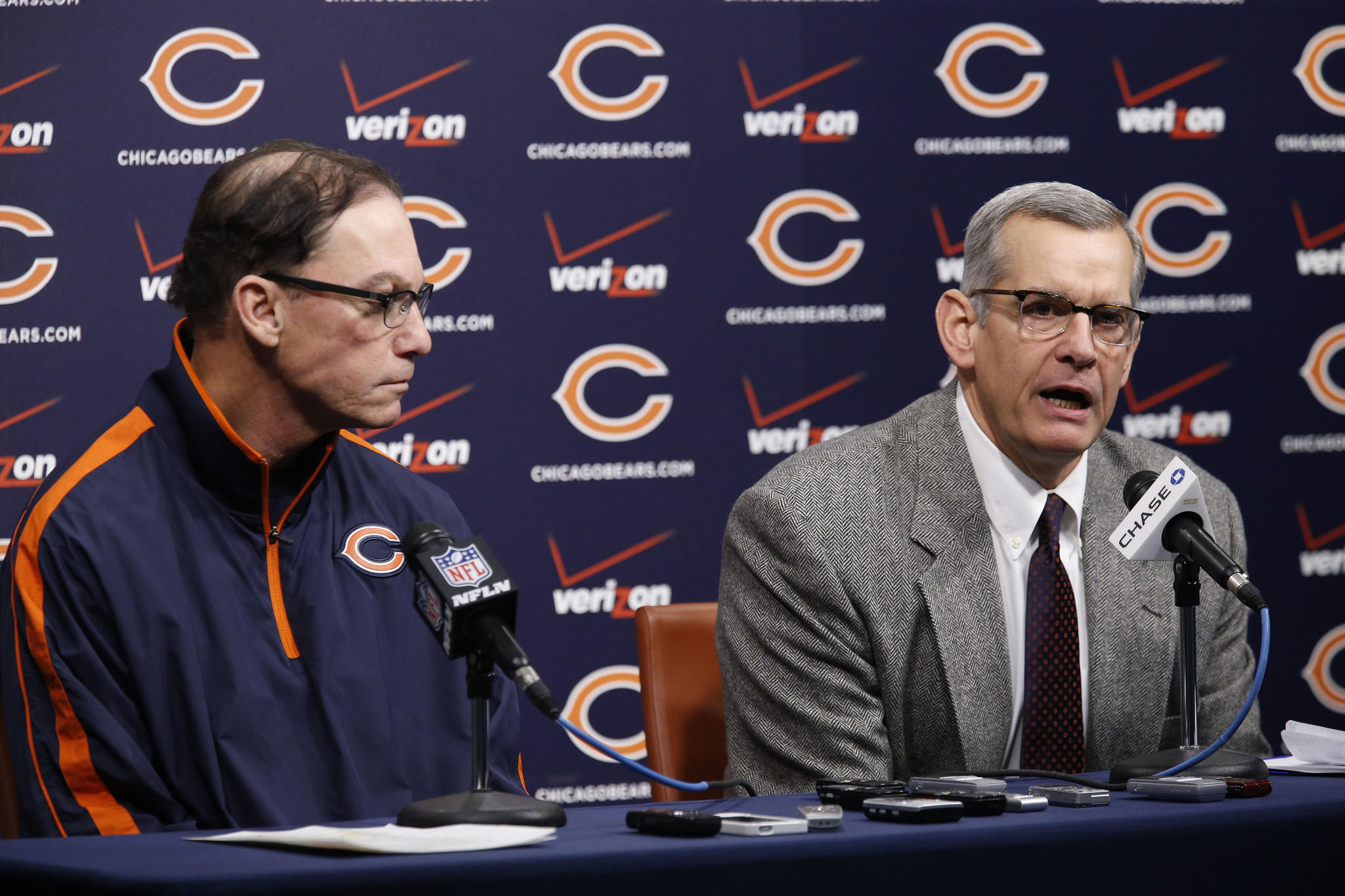 Chicago Bears head coach Marc Trestman, left, and GM Phil Emery hold a press conference at Halas Hall in Lake Forest on Thursday.