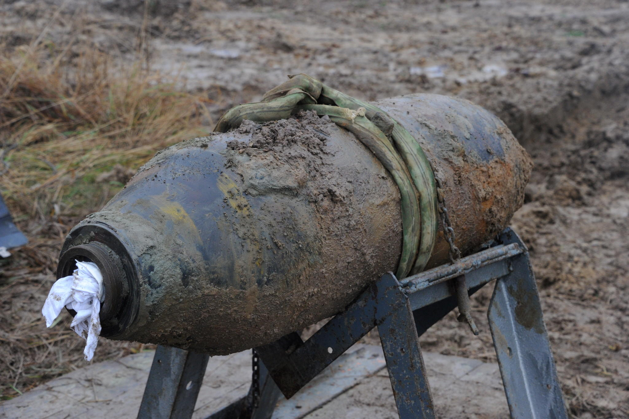 December 2013 file photo shows a defused US aerial bomb awaiting transportation in Kiel-Meimersdorf, Germany.