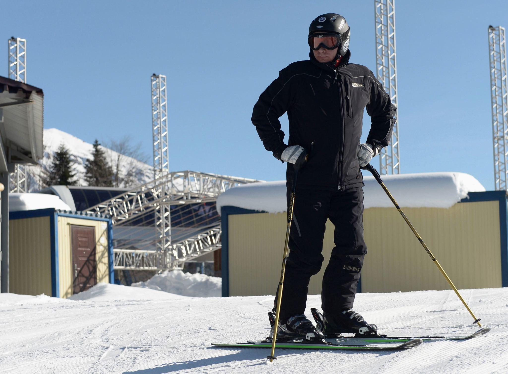 "Russian President Vladimir Putin visits the ""Laura"" cross country ski and biathlon centre in the resort of Krasnaya Polyana near Sochi January 3, 2014."