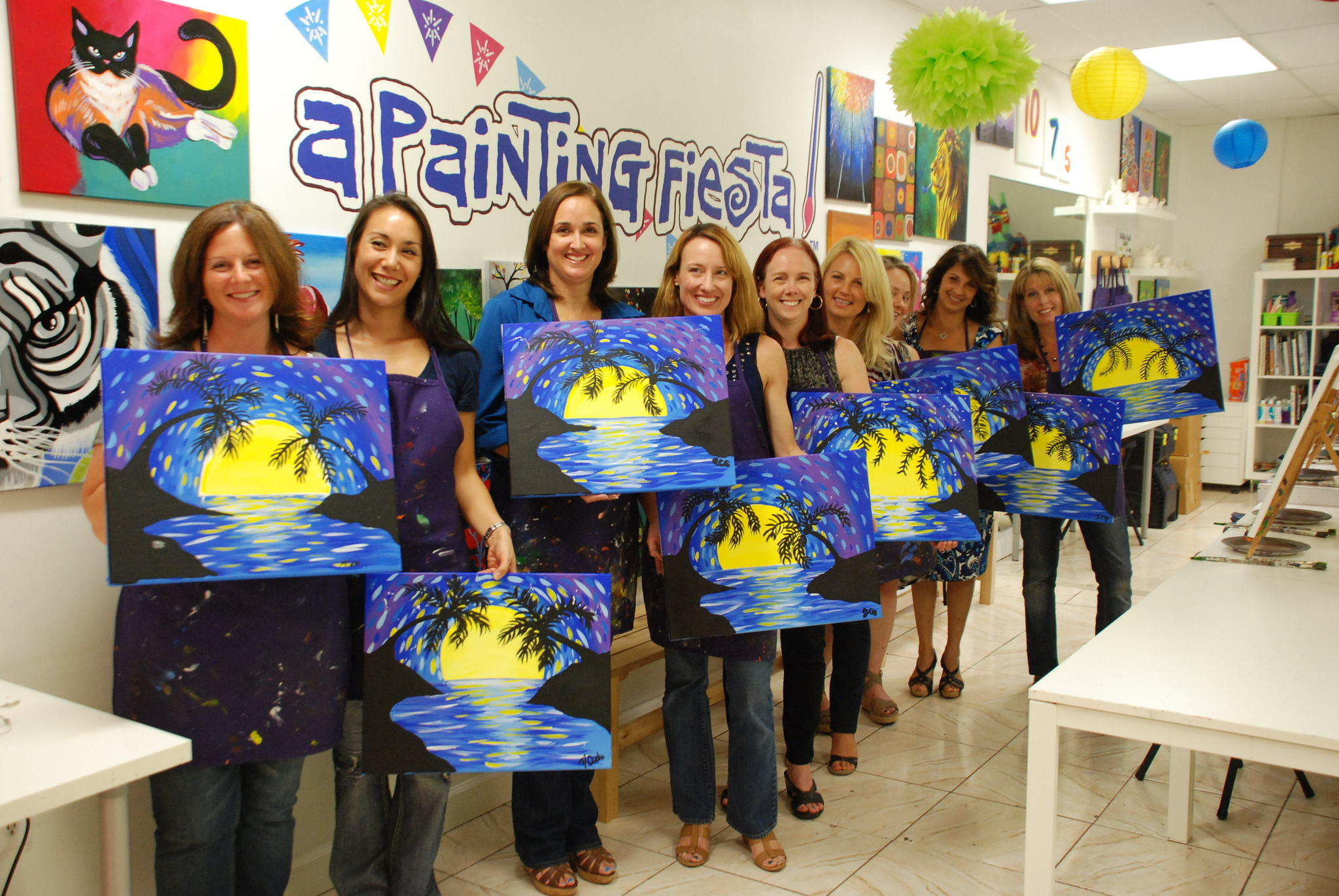 A recent class at A Painting Fiesta Studio in Coral Springs where people can paint while drinking wine.