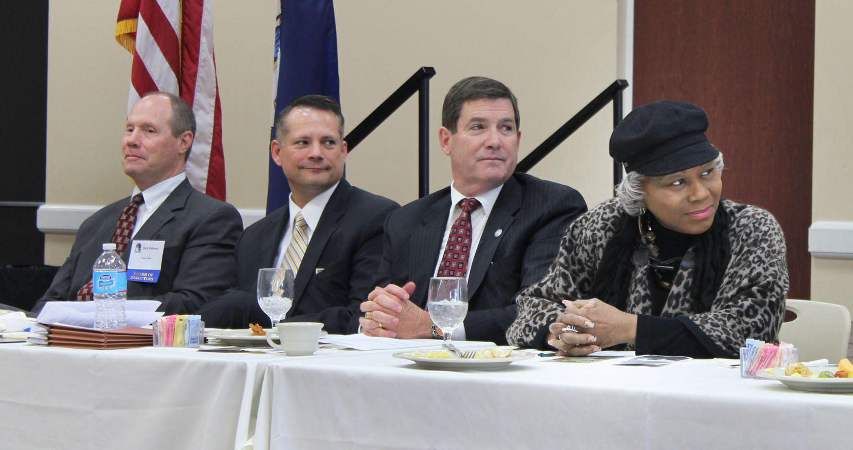 Pictured at a pre-legislative forum in Smithfield, from left to right: Richard Holland, President and CEO of Farmers Bank; Delegate Rick Morris, R-Isle of Wight; state Sen. John Cosgrove, R-Chesapeake; and state Sen. Louise Lucas, D-Portsmouth.