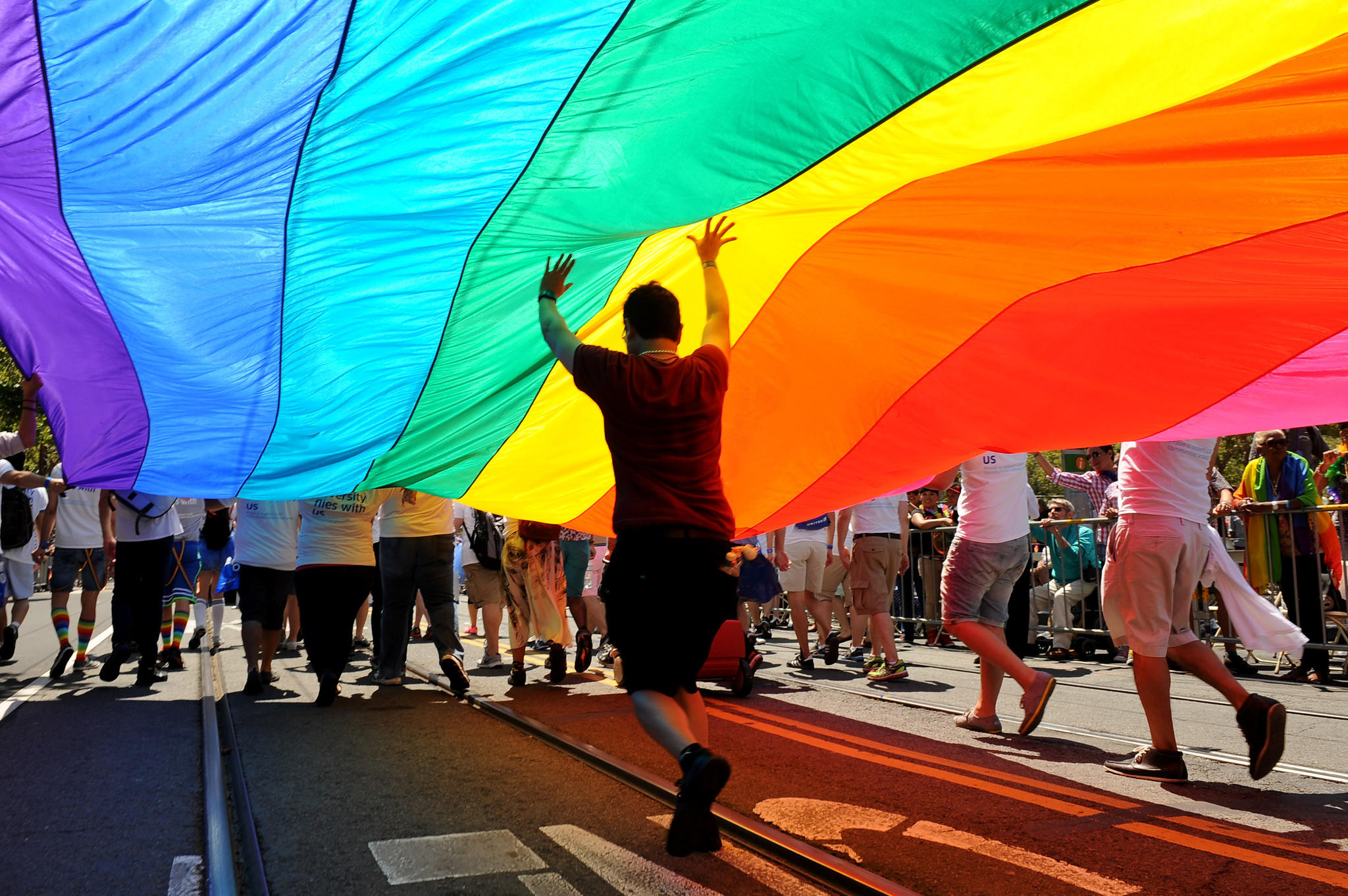 Participants carry a rainbow flag during the annual Gay Pride parade in San Francisco.