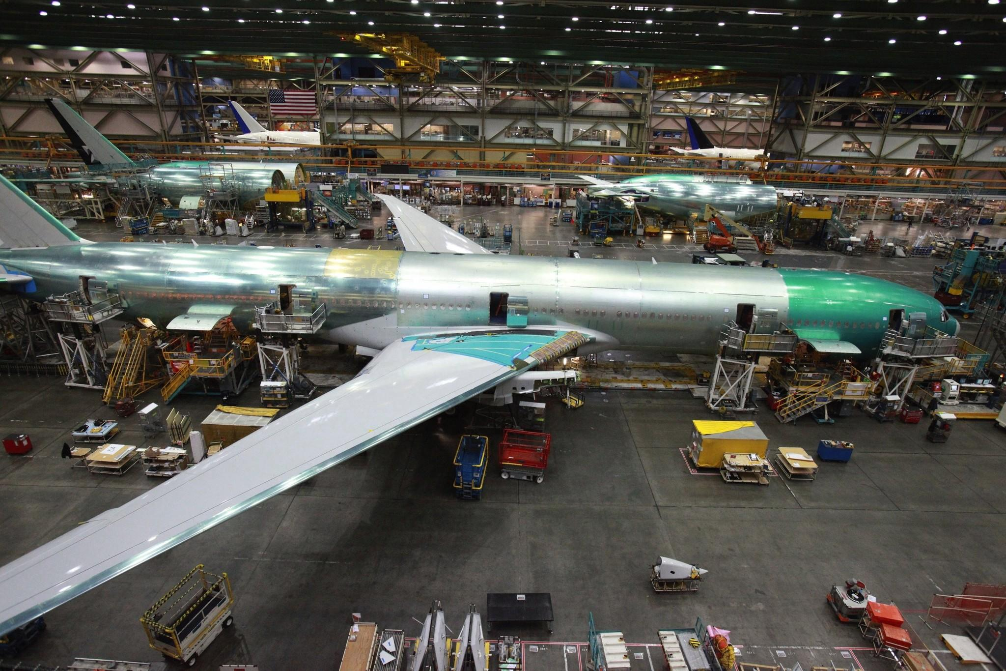 The current Boeing 777 manufacturing line in Everett, Wash.