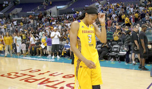 Sparks star Candace Parker leaves the court after an 80-79 loss to the Minnesota Lynx in Game 2 of the Western Conference Finals on October 7, 2012. The Sparks have not won a WNBA title since 2002.