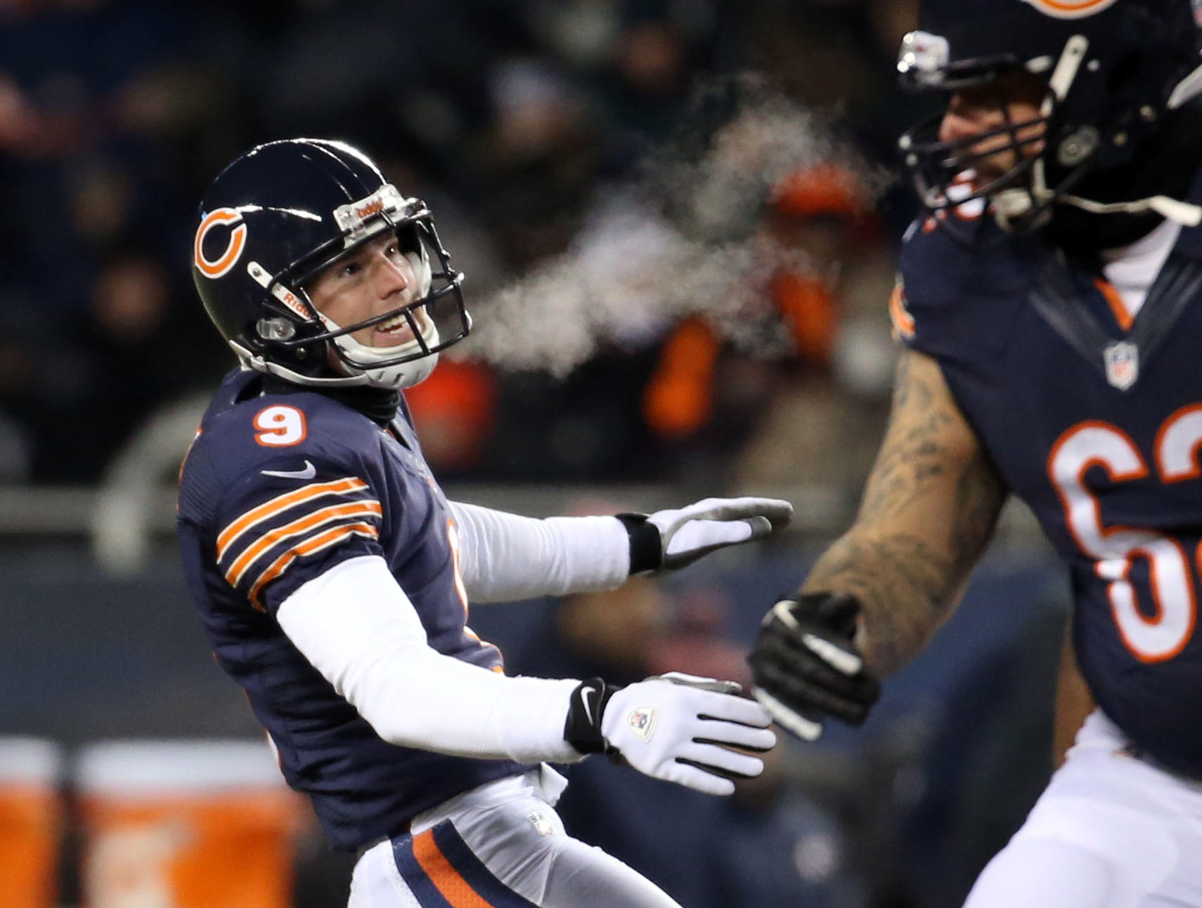 Chicago Bears kicker Robbie Gould exhales as he connects on a field goal in the third quarter against Dallas on Dec. 9, 2013 at Soldier Field.