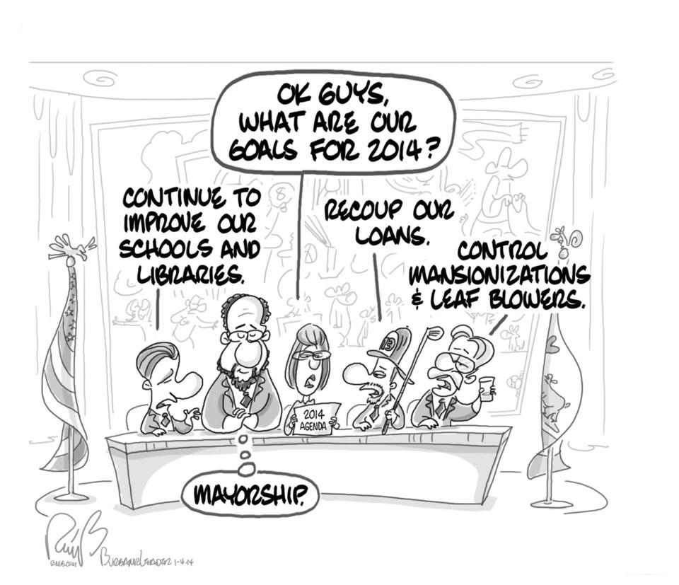 Cartoonist Bert Ring depicts the Burbank city council's resolutions for the new year, including those of longtime council member and vice mayor David Gordon, who now inches towards his goal.