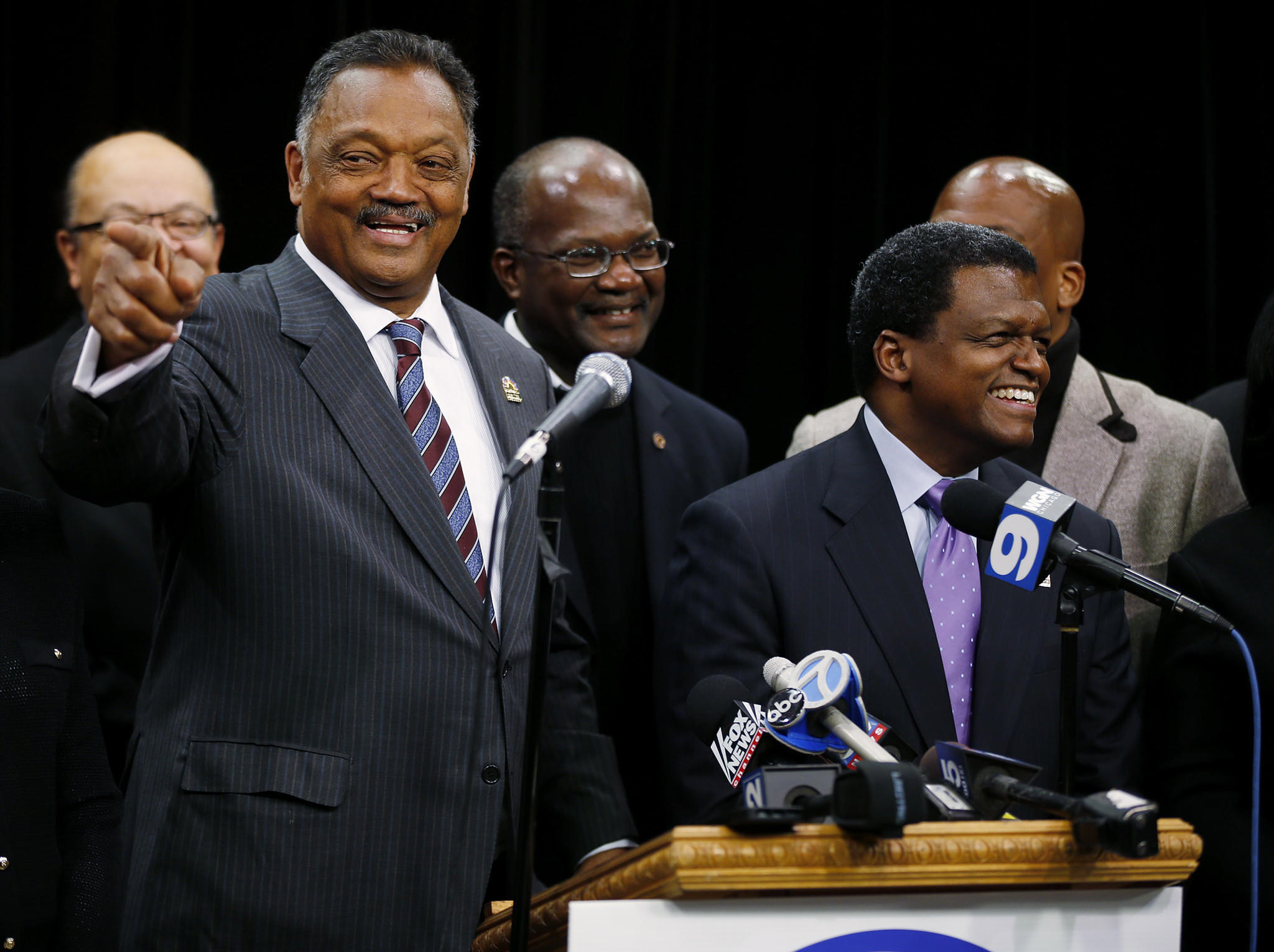 Rev. Jesse Jackson, left, speaks with Robert Goodman, right, during a press conference at Rainbow/PUSH headquarters in Chicago. Thirty years ago, Rev. Jackson negotiated the release of Goodman, a US Navy pilot that had been shot down over Lebanon.