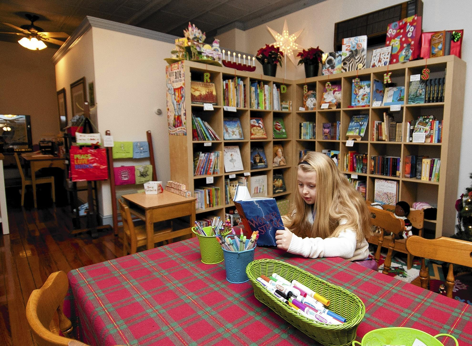 Madeleine Hess, 9, reads one of her favorite books at Let's Play Books at 379 Main St. in Emmaus.