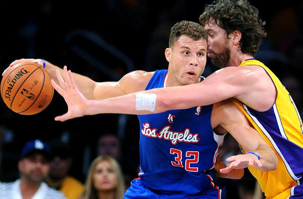 Power forward Blake Griffin (32) of the Clippers and Pau Gaol of the Lakers are the two healthy stars who will lead their teams into battle against each other on Friday night.
