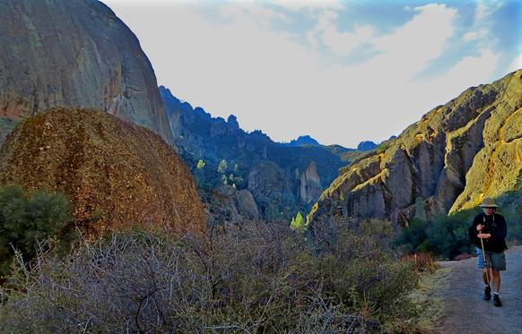 Dramatic rock formations set the scene at the nearly 10-mile Balconies Cliffs Trail at Pinnacles National Park, east of the Salinas Valley.