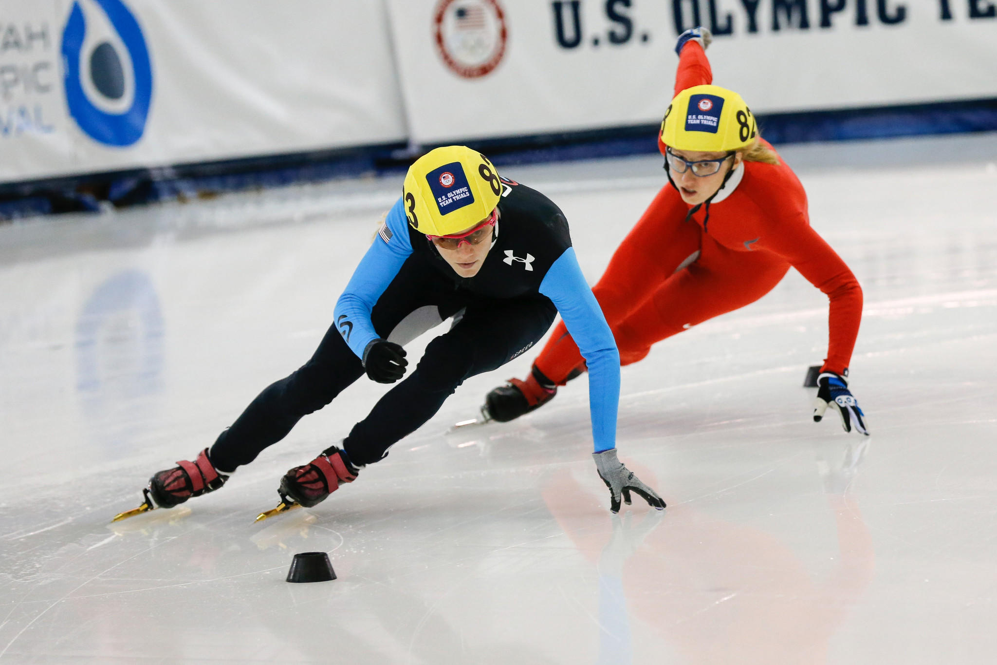 Emily Scott (left) and Brittany Salmon (right) compete in the 500m of the U.S. Olympic short track speedskating trials at Utah Olympic Oval.