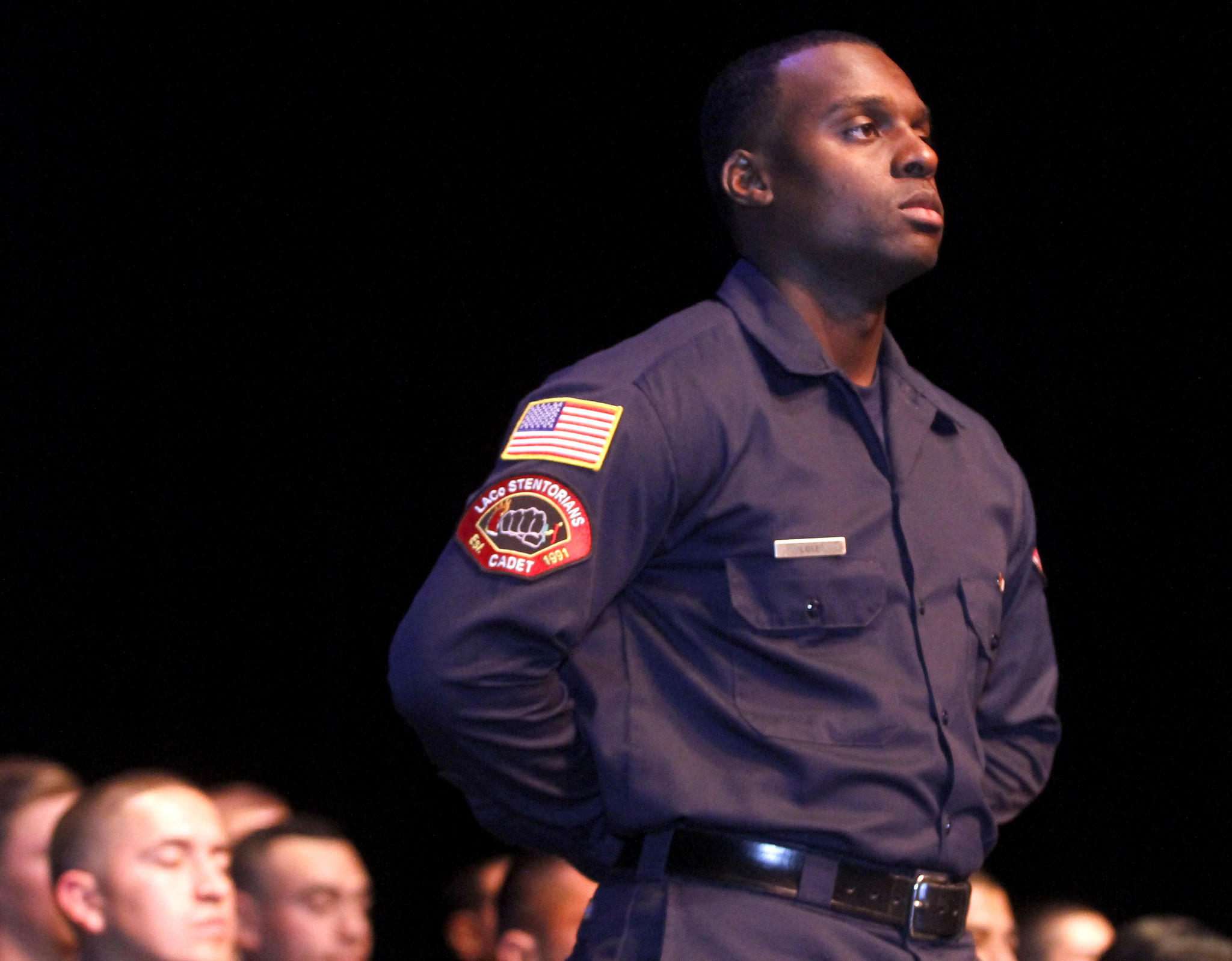 Donshay Luke received the community service award during the Verdugo Fire Academy Class XVI graduation ceremony at Glendale College on Saturday, January 4, 2014.