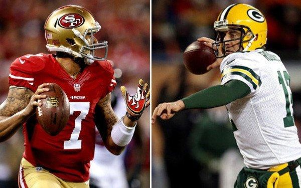 Quarterbacks Colin Kaepernick (7) of the 49ers and Aaron Rodgers of the Packers will try to stay hot while playing in frigid conditions Sunday in Green Bay.