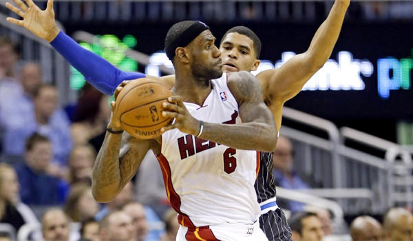 Miami's LeBron James looks to pass against Orlando's Tobias Harris, but it doesn't look like anyone will pass the Heat in this week's rankings.